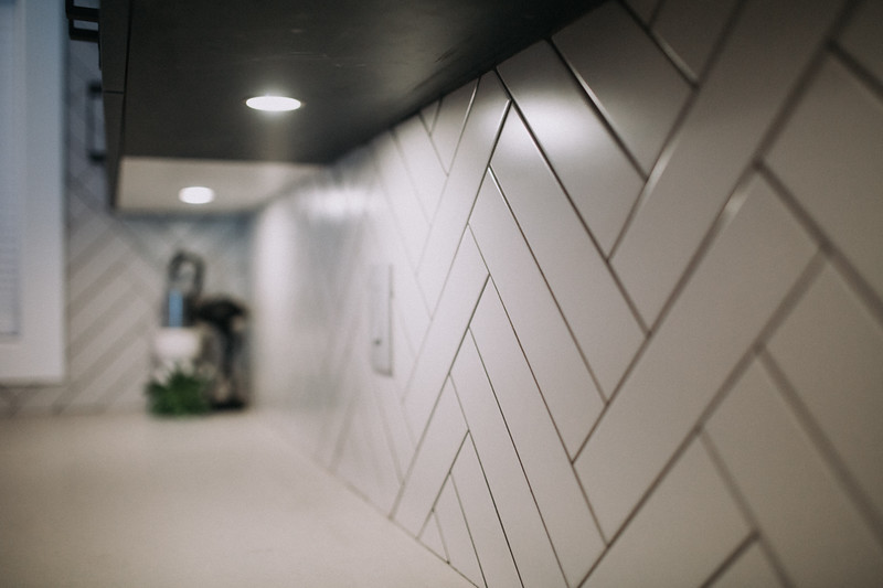 herringbone tile install